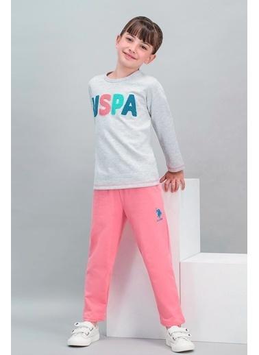 U.S. Polo Assn. U.S. Polo Assn Lisanslı Şeker Pembe Kız Çocuk Eşofman Takımı Gri